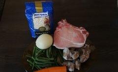 «Ризотто с грибами, стручковой фасолью и мясом» - приготовления блюда - шаг 1