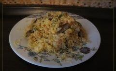 «Ризотто с грибами, стручковой фасолью и мясом» - приготовления блюда - шаг 6