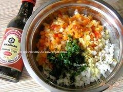 «Рисовые котлетки с овощами в кунжутной панировке» - приготовления блюда - шаг 2