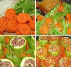 «Цукини фаршированные фаршем, тушёные с овощами» - приготовления блюда - шаг 3