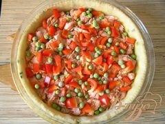 «Пирог с лососем, зеленью и овощами» - приготовления блюда - шаг 4