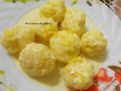 «Ленивые вареники со сметано - цитрусовым соусом» - приготовления блюда - шаг 5