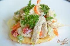 «Куриный салат с сырными слойками» - приготовления блюда - шаг 6