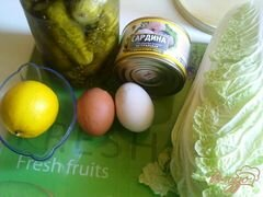 «Салат с сардинами» - приготовления блюда - шаг 1