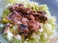 «Салат с сардинами» - приготовления блюда - шаг 7