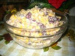 «Салат с сухариками и фасолью» - приготовления блюда - шаг 4