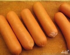 «Сосиски в кляре на сковороде» - приготовления блюда - шаг 1